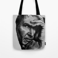 ford Tote Bags featuring Harrison Ford by Sophie-Jay