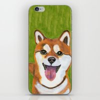 shiba inu iPhone & iPod Skins featuring Happy Shiba Inu by AnimalFrenzArt  -- Whimsical animal art