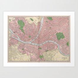 Vintage Map of Pittsburgh Pennsylvania (1912) Art Print
