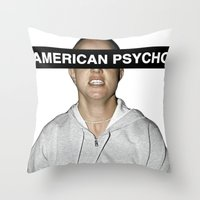 britney spears Throw Pillows featuring American Psycho - Britney Spears by hunnydoll