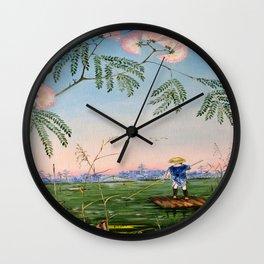 Flowering Acacia Wall Clock