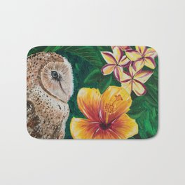 Hawaiian Barn Owl Acrylic Painting Bath Mat