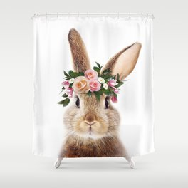 Baby Rabbit, Brown Bunny With Flower Crown, Baby Animals Art Print By Synplus Shower Curtain