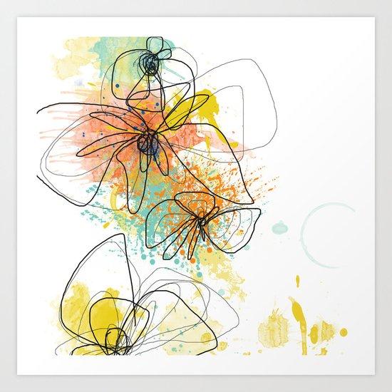 Orange Botanica Art Print