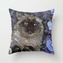 Ragdoll Cat and the Hollyhocks Throw Pillow