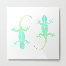 Cute gecko lizard in green aqua and gold Metal Print