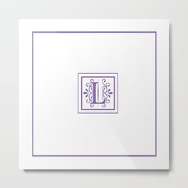 Monogram Letter L in Violet and White Metal Print