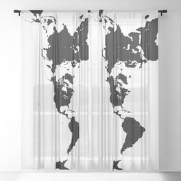 Dymaxion World Map (Fuller Projection Map) - Minimalist Black on White Sheer Curtain