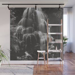 Fairy Falls Waterfall - Black and White Wall Mural