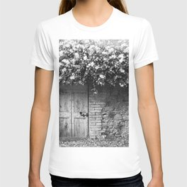 Old Italian wall overgrown with roses T-shirt