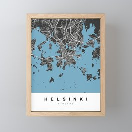 Helsiki Map | Black & Blue | More Colors, Review My Collections Framed Mini Art Print