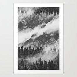 Misty Mountain B&W Art Print