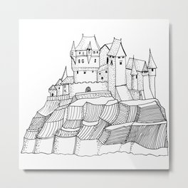 Castle on the cliff . illustration Metal Print