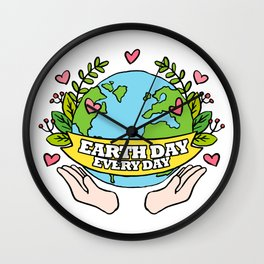 Earth Day Every Day Save The Planet Wall Clock