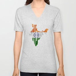 India World Map / Indian Typography Flag Map Art Unisex V-Neck