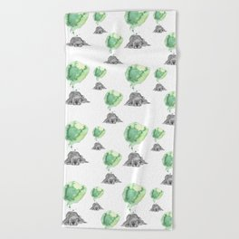 Dreaming Puppy - Green Watercolor Beach Towel