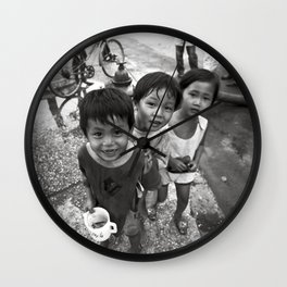 Vietnamese Children with a goldfish  Wall Clock