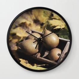 Fall still life pears pyrus fruit in wooden baske Wall Clock