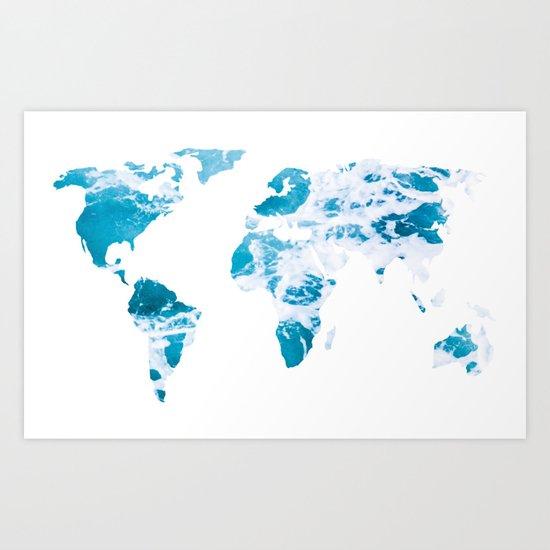 World Map Ocean Waves Art Print