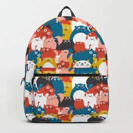 Cats Crowd Pattern Backpack