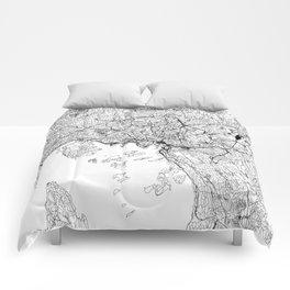 Oslo White Map Comforters