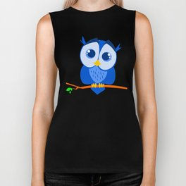 Sweet Little Blue Owl Biker Tank