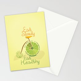 Eat slowly, eat healthy. A PSA for stressed creatives. Stationery Cards