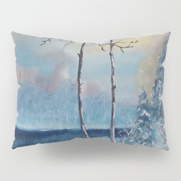 Sunrise at the lake, Beautiful Modern Oil Painting on Canvas, Landscape Pillow Sham