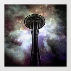 Space Needle - Seattle Stars and Clouds at Night Canvas Print
