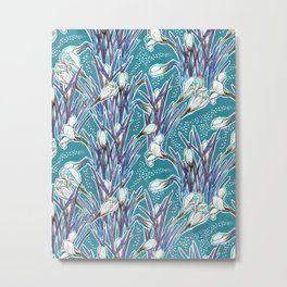 Crocuses, floral pattern in turquoise, blue and white Metal Print