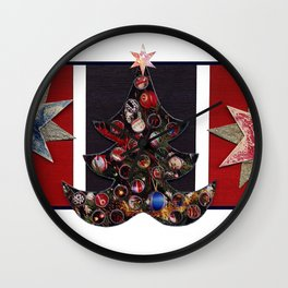 Christmas D6 - Tree & Stars Wall Clock