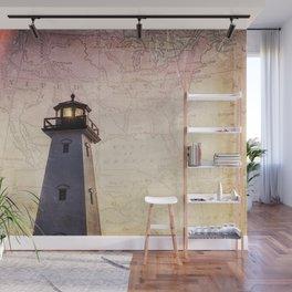 Lighthouse Map Wall Mural