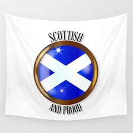 Scottish Proud Flag Button Wall Tapestry