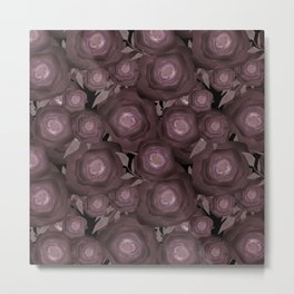 Abstract flowers in black and brown colours . Metal Print