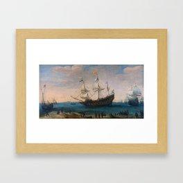 """Hendrick Cornelis Vroom """"Het uitzeilen van een aantal Oost-Indiëvaarders"""" Framed Art Print"""