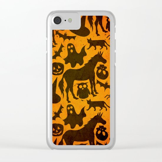 Halloween Spook Unicorn Clear iPhone Case