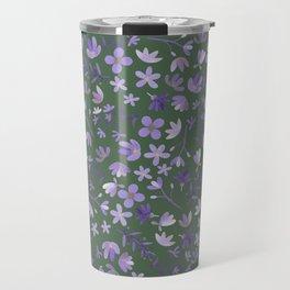 Purple Watercolor Flowers on Green Travel Mug
