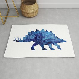 Dark Blue Stegosaurus Watercolor Painting Rug