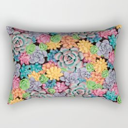 Rainbow Candy Succulent Plants | Colorful Cacti Rectangular Pillow