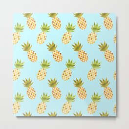 Blue Tropical Pineapple Pattern Metal Print