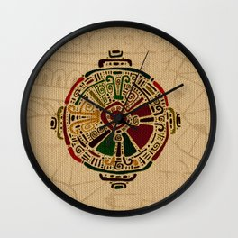 Colorful Hunab Ku Mayan symbol on cotton Wall Clock