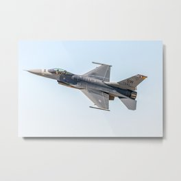 F-16 Banking at Alliance Air Show Metal Print