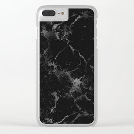 Vintage modern black gray white stylish marble Clear iPhone Case