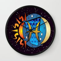 astrology Wall Clocks featuring Astrology, fish by Karl-Heinz Lüpke
