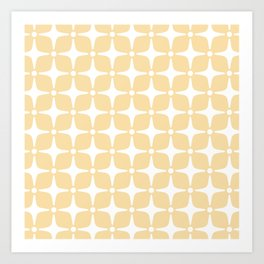 Mid Century Modern Star Pattern 731 Cream Yellow Art Print