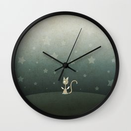 Small winged polka-dotted beige cat and stars Wall Clock