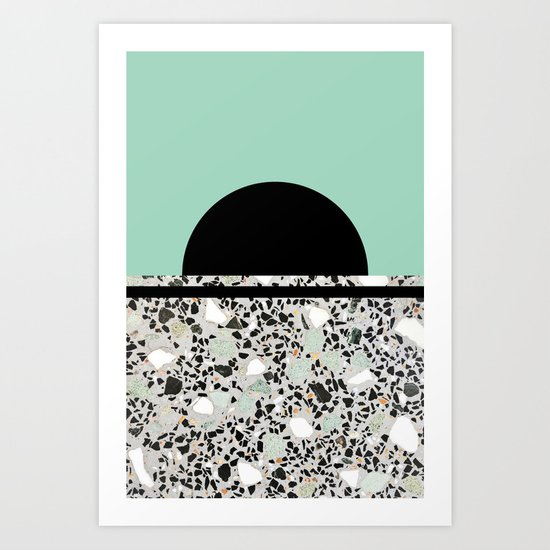 Abstract Concrete and Marble Terrazzo Stone Pastel Green Art Print