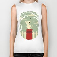 yetiland Biker Tanks featuring Let's meet at the red post box by Yetiland