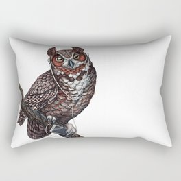 Great Horned Owl with Headphones Rectangular Pillow