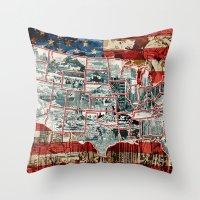 usa Throw Pillows featuring USA  by Bekim ART